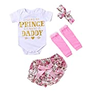 IWOKA Infant Baby Girls 4PCS Set Daddy Letter Print Romper + Floral Bow Pants + Leg Warmer + Headband (70(0-3months), White+Pink)