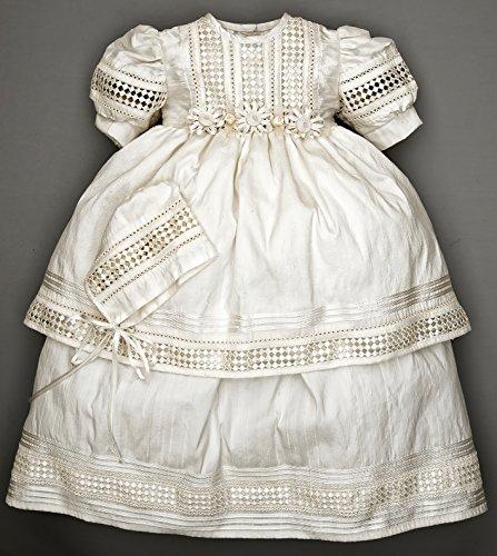 Elegant Baby Girl Christening Baptism dress, HandMade, Silk Ivory or White - Model G008 Burbvus   Girls Christening Gown - Dress by Burbvus