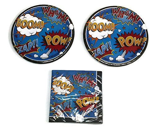 (Cartoon Slang Superhero Slogans Birthday Party Plates (16) And Napkins (16))