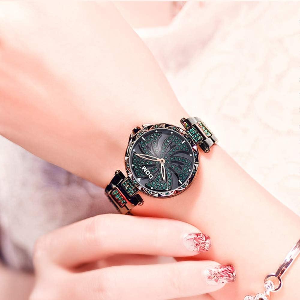 Rotazione del Mulino a Vento Watch, Unica Tabella di personalità di Temperamento Studenti Impermeabile Starry Sky Ins Watchs Vento,Nero Black