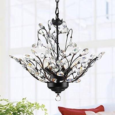 4-light Antique Copper Finish Vine and Crystal Pendant Chandelier Ceiling Fixture