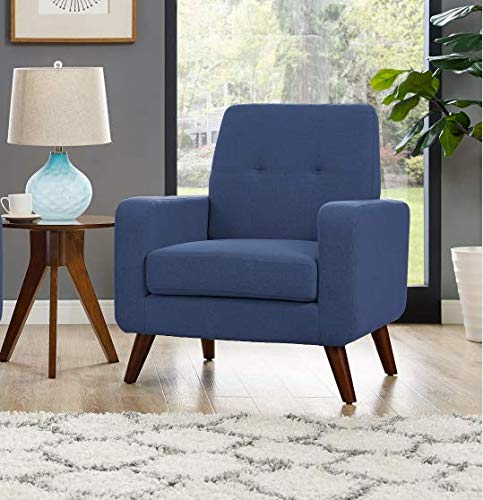 Dazone Accent Chair Modern Armchair Upholstered Linen Fabric Single Sofa Chair Living Room Furniture Blue