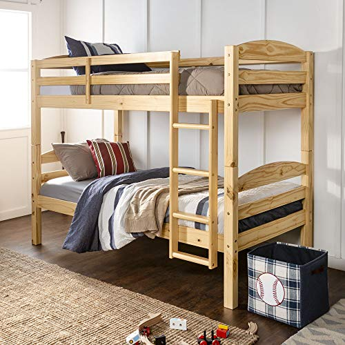 (WE Furniture Twin Over Twin Solid Wood Bunk Bed, Natural)