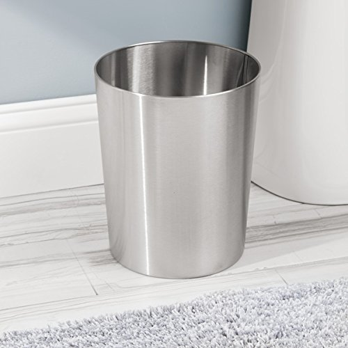 mDesign Round Metal Small Trash Can Wastebasket, Garbage Container Bin for Bathrooms, Powder Rooms, Kitchens, Home Offices - Durable Brushed Stainless Steel