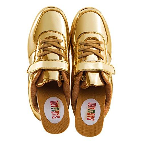 SAGUARO Jungen Mädchen Turnschuhe USB Lade Flashing Schuhe Kinder LED Leuchtende Schuhe Gold