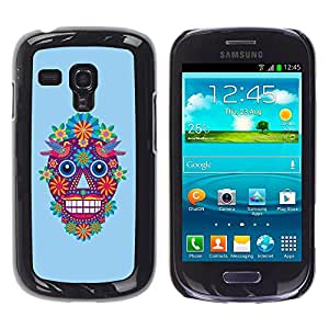 Shell-Star Arte & diseño plástico duro Fundas Cover Cubre Hard Case Cover para Samsung Galaxy S3 III MINI (NOT REGULAR!) / I8190 / I8190N ( Skull Cartoon Flowers Spring Blue Devil )