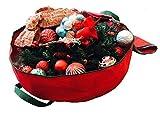 Heavy Duty Circular Christmas Wreath Storage Bag 30 Inch Premium Red Holiday Garland Storage Bag, Red 30 by K-Cliffs