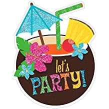 """Amscan Luau Large Novelty Glitter Party Invitation Cards, 8 Pieces, Made from Paper, 6"""" x 4"""""""