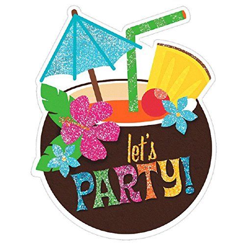 Party Piece 8 Invitations (Amscan Luau Large Novelty Glitter Party Invitation Cards, 8 Pieces, Made from Paper, 6