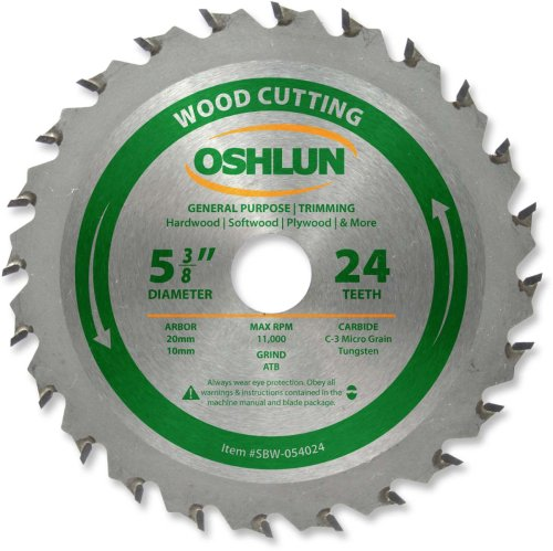 Oshlun SBW-054024 5-3/8-Inch 24 Tooth ATB General Purpose an