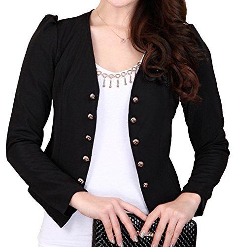 S&S Women's Lady Short Jacket Pearl Buttons Casual Suit Coat Office Peplum Blazer ()