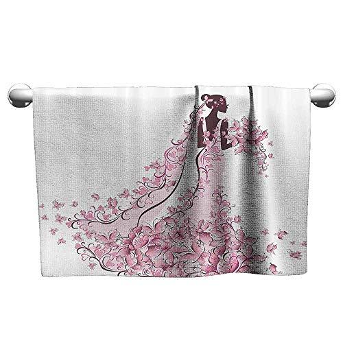 DUCKIL Custom Towel Wedding Decorations Flowers Hearts Butterflies on Wedding Dress Bridal Gown Extra Long Bath Towel 20 x 20 inch Light Pink Maroon White