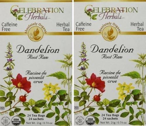 - Organic Dandelion Root Raw Tea - Caffeine Free, 48 Bags (2 packs of 24) ()
