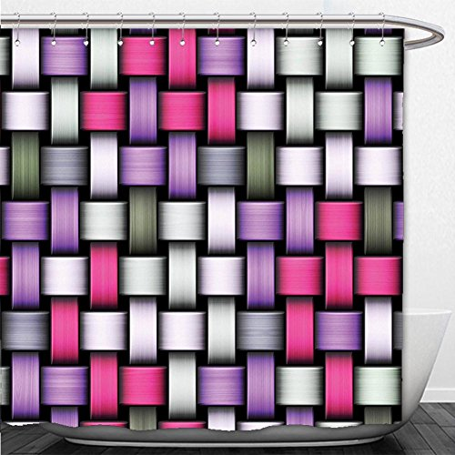 Beshowere Shower Curtain Abstract Knot Pattern with Large Fractal Yarns Geometric Linked Bands Graphic Pink Purple Silver Grey