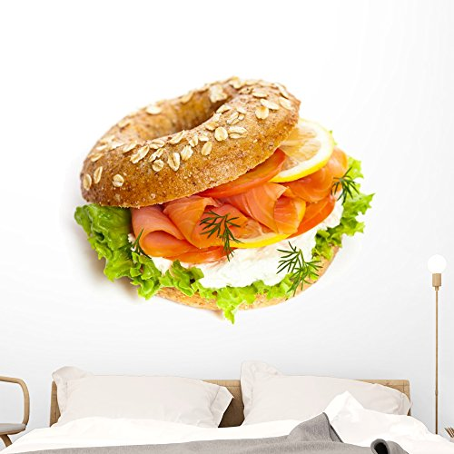 Wallmonkeys Smoked Salmon Bagel Wall Decal Peel and Stick Business Graphics (48 in H x 48 in W) WM206268