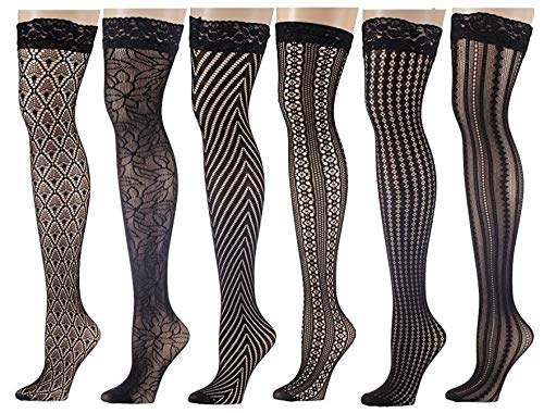 Design Fishnet (Isadora Paccini Women's 6-Pairs Fishnet Lace Thigh High Stockings (6 Black Designs. (THI10-A-SIX)))