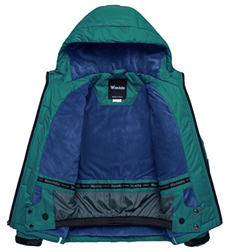 Wantdo Boy's Windproof Skiing Jacket Fleece Lined Hoodies Short Parka Rainwear(Blackish Green, 10/12) by Wantdo (Image #3)