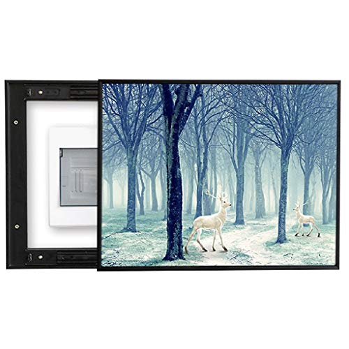 QIANDING Qiangbi Cross-Section Meter Box Decorative Painting Push-Pull Models Need to Be Punched, Suitable for Corridor Study Hotel Wall, Forest Animal Pattern Size 40/50cm Wall Fuse Box