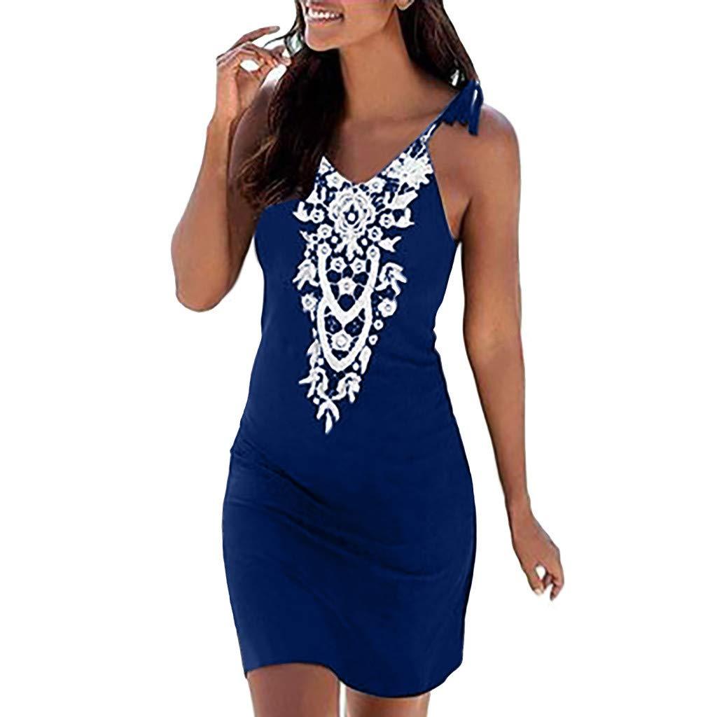 AIni Damen Sommerkleid V-Ausschnitt Boho Lace Sleeveless beiläufiges Mini Beachwear Kleid Mode Beiläufiges Festlich Partykleid Elegant Kleider
