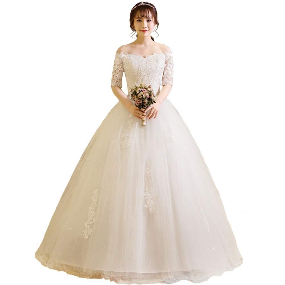 Ivory Sunbridal Off The Shoulder Lace Applique Beaded Half Sleeve Wedding Dress
