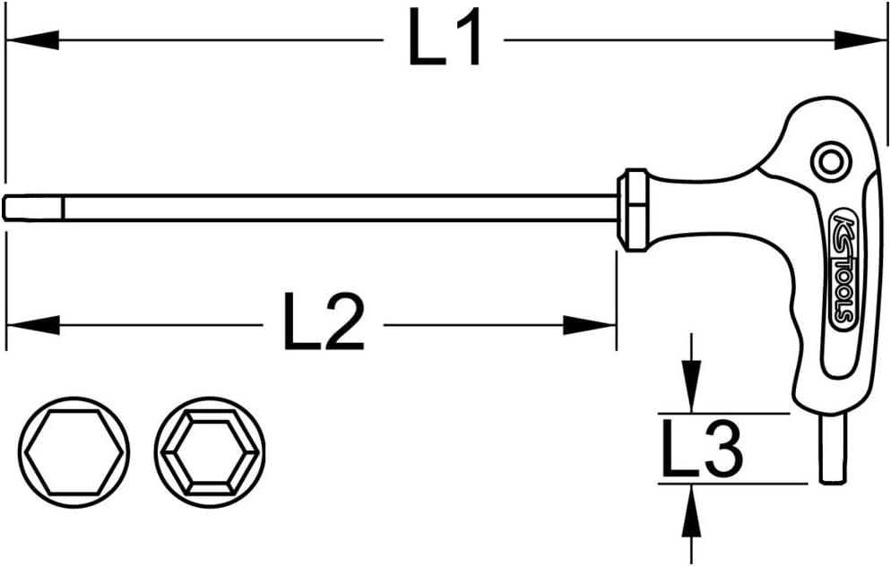 KS Tools 151.8130 Chiave maschio esagonale piegata Torx 55 KS 1//2