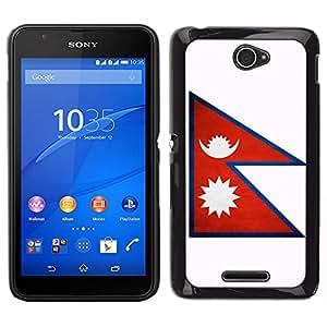 // PHONE CASE GIFT // Duro Estuche protector PC Cáscara Plástico Carcasa Funda Hard Protective Case for Sony Xperia E4 / National Flag Nation Country Nepal /