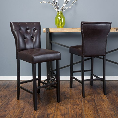 (Great Deal Furniture Carlson Brown Bonded Leather Bar Stool (Set of 2))