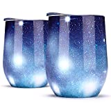 NEWBEA 2pcs Wine Tumbler with Lid,12 Oz Double Wall Vacuum Insulated Stemless Glass,Stainless Steel Wine Cup Perfect for Wine,Coffee,Drinks,Champagne,Cocktails (Star Blue, 12 oz)