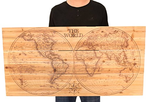 Joe&Lee Classy Laser Engraved Wooden World Map | Graphic Wall Art Home Wall Decor | Room Office Wall Art | Rustic Vintage Farmhouse Style decorations | Travel Push Pin Map | Perfect Artwork Gift Idea by Joe&Lee (Image #5)