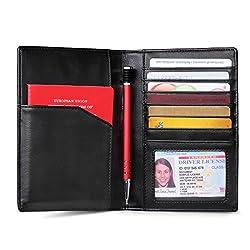 AECCEZ RFID Blocking Genuine Leather Travel Passport Holder Wallet for Men Women FBA