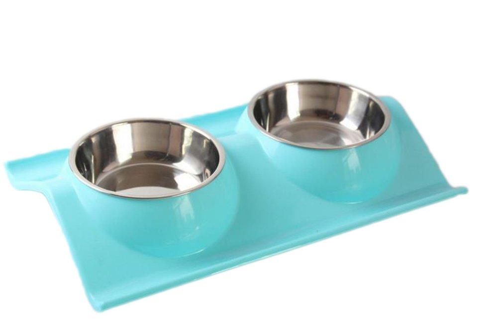 Itemer Pets feeder Dish Bowl, doppio in acciaio INOX cane gatto ciotole con tappetino antiscivolo, antigoccia, vassoio cibo acqua nutrire forniture