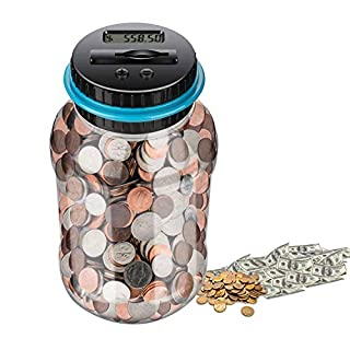 Digital Coin Bank,Money Counter Piggy Banks,Electric Penny Bank,Coin Counter,Piggy Banks for Adults,Coin sorter, Adults Boys Girls as Gift , Powered by 2AAA Battery (No)