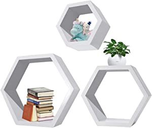 Hexagonal Shelves, 3Pcs Wall Mounted Shelf Floating Shelves Wood Storage Rack Display for Home Bedroom Kids Room Decor - White