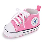 Baby Boys Girls Basic Canvas Sneaker Lace up Infant Prewalk Shoes(0-18 Months) (11cm(0-6 Months), A-Pink)