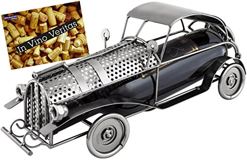 BRUBAKER Wine Bottle Holder Classic Car - Metal Sculpture - Wine Rack Decor - Tabletop - With Greeting Card