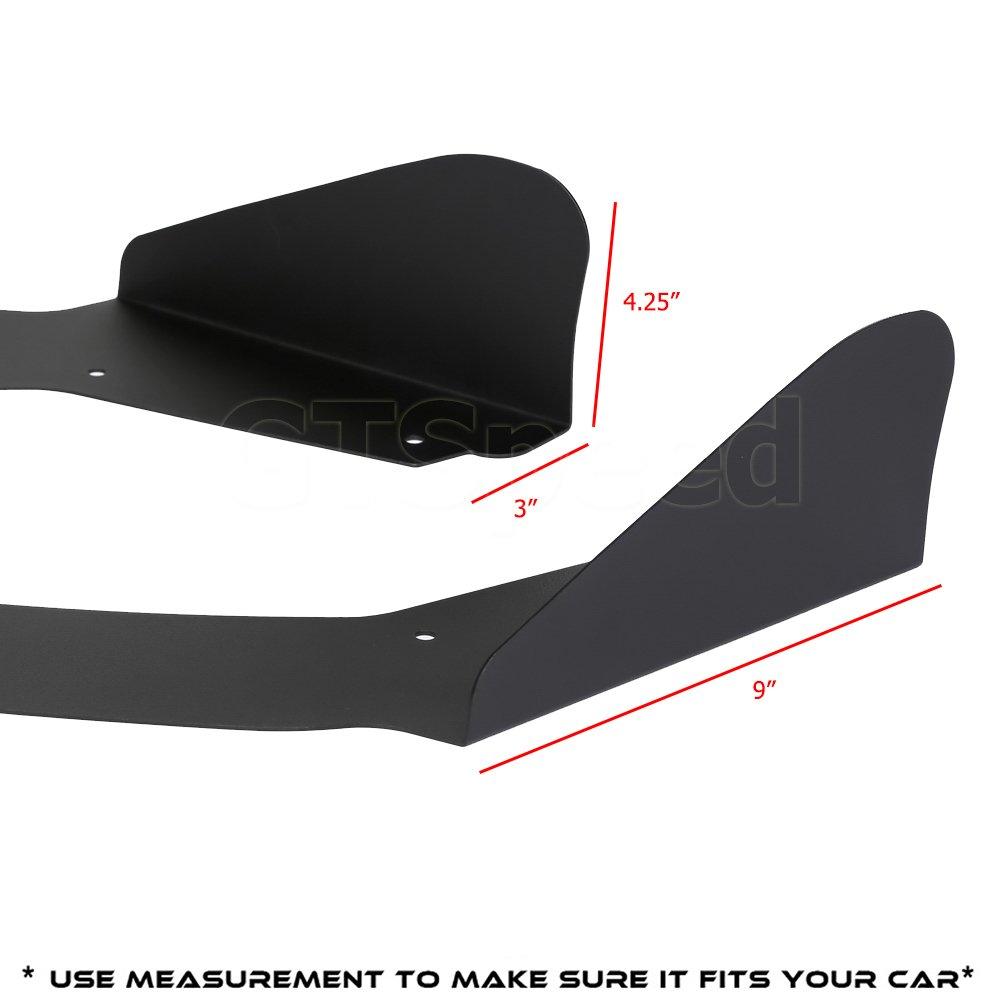 GTSpeed Made Universal Fit Black Aluminum Winglet Side Lip Splitter Wings For Front or Rear Bumper Add-on