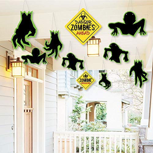 Hanging Zombie Zone - Outdoor Halloween or Birthday Zombie Crawl Party Hanging Porch & Tree Yard Decorations - 10 Pieces