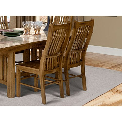 Laurelhurst Slatback Side Chair with Wood Seat Rustic Oak/Set of 2