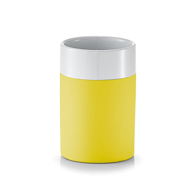 wei/ß//cr/ème ca Keramik 6,5 x 6,5 x 10 cm Zeller 18531 Zahnputzbecher Rubber