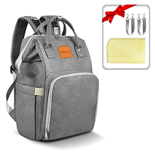 - Diaper Bag Backpack, Large Capacity Multi-Function Waterproof Durable Travel Back Pack Baby Nappy Bag Organizer with Insulated Pockets/Changing Pad/Stroller Straps for Boys Girls(Dark Gray)