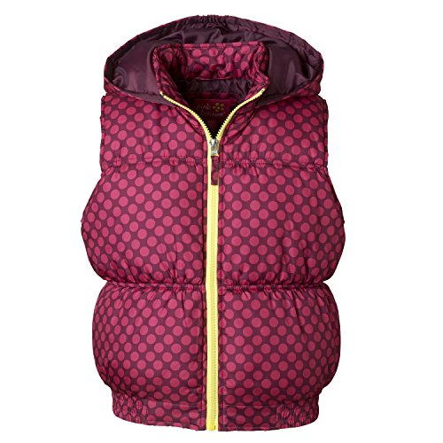 Pink Platinum Puffer Vest for Little Girls - Tonal Color Dot Print Magenta