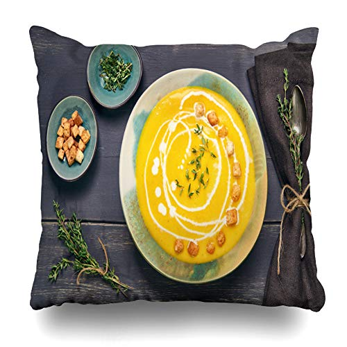 LALILO Throw Pillow Covers, Pumpkin Leaves Cream Dark Wood Double-Sided Pattern Sofa Cushion Cover Couch Decoration Home Gift Bed Pillowcase 18x18 inch ()