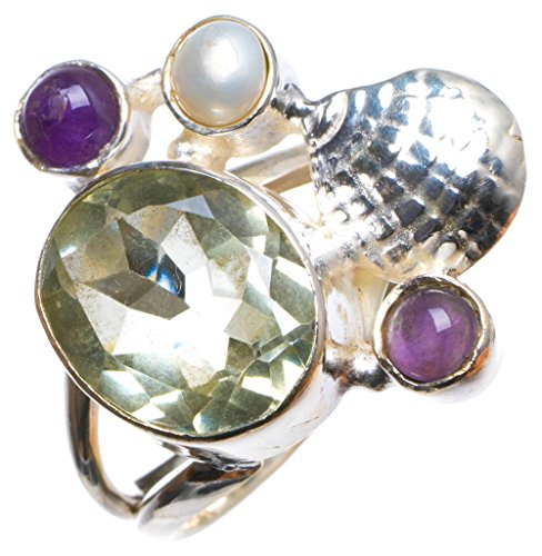 Natural Green Amethyst,Amethyst and River Pearl Handmade Unique 925 Sterling Silver Ring, US size 6 X 2988