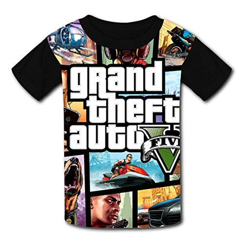 Price comparison product image BRTee-Shoein Grand Theft Youtube Auto V Kids 3D Printed Round Neck Tops for Teen Boys Girls XL