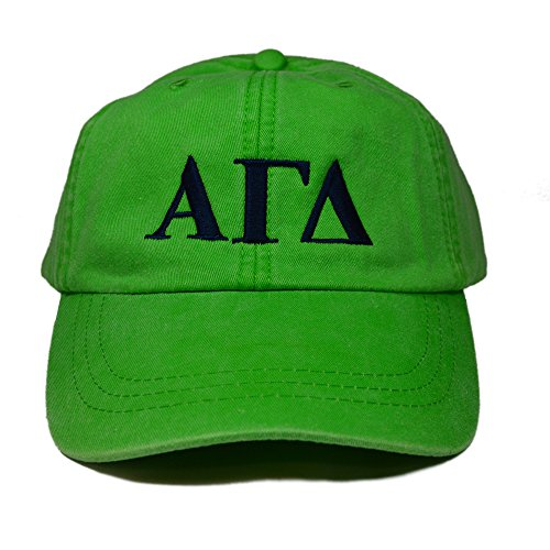Alpha Gamma Delta Sorority Baseball Hat Cap Designer Greek Letter Design Sorority Sports Cap Neon Green Hat with Navy Thread Standard Size Adjustable Leather Strap Alpha Gam (Berry Green New Chapter)