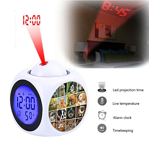 Projection Alarm Clock Wake Up Bedroom with Data and Temperature Display Talking Function, LED Wall/Ceiling Projection,Customize the pattern-087.Collage, Dogs, Animals, Dog Puppies