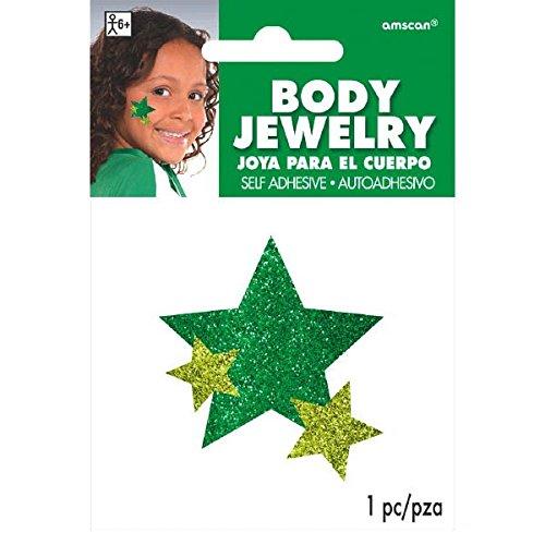 Amscan Spirit Glitter Body Jewelry, Party Accessory, Green
