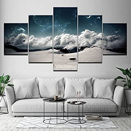 Poster Quadri su tela Modulari Wall Art HD Stampa 5 Pezzi Cielo blu ...
