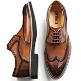 GIFENNSE Men's Leather Lace-up Oxford Shoes Mens Dress Shoes(10.5US/Brown