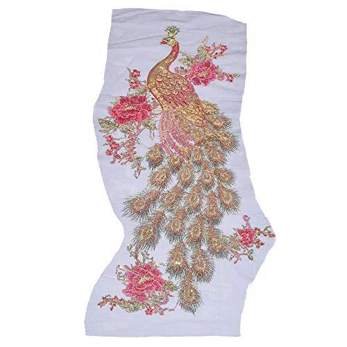 MOPOLIS Embroidery Patches Blossom Peacock Applique for Clothing Dress Sewing Craft DIY | Color - Black